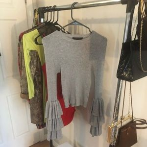 Tops - Grey Flare Sleeved Sweater